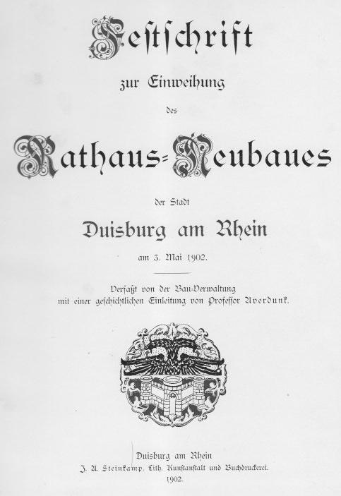 Festschrift 1902 Rathaus Neubau Duisburg